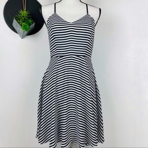 Express black white stripe Fit & Flare
